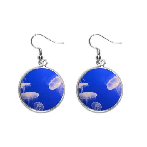 Nebula Mutual Impact Blue Nebula Pattern Ear Dangle Silver Drop Earring Jewelry Woman