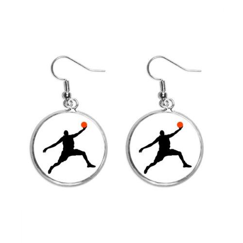 Slam Dunk Sports Basketball Jumping Ear Dangle Silver Drop Earring Jewelry Woman
