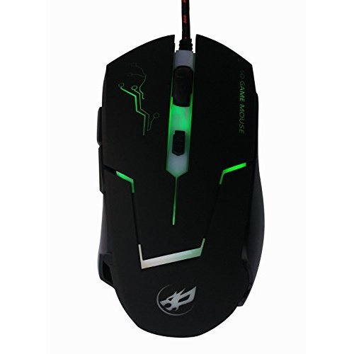 High Precision 3800 DPI Symmetrical Optical USB Wired Mouse with 7 Soothing LED Colors 6 Buttons Gaming Mouse Ergonomic Black Mice for Pro Gamer