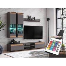 Grey Colour Living room Furniture Set RGB LED Lightingl MODO