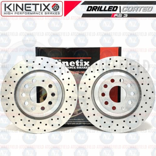 FOR AUDI RS3 RSQ3 2.5 KINETIX COATED CROSS DRILLED REAR BRAKE DISCS PAIR 310mm