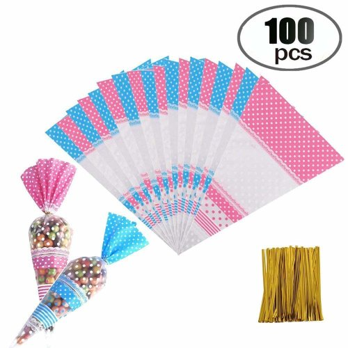 100x Party Cellophane Bags Cello Loot Gift Bag Sweet Food Treat Clear Birthday D