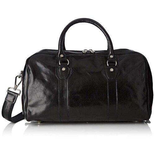 (Black) 30x28x8 cm -  Duffel Original Leather Bag - Made in Italy