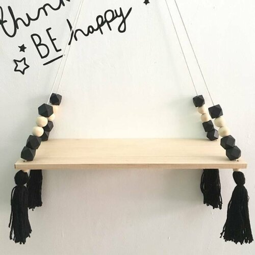 (Black) Cute Kids Bedroom Wall Hanging Wooden Shelf Rope Swing Shelves Storage Home Decor