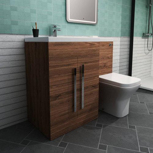 Calm Walnut Left Hand Combination Vanity Unit Set with Toilet