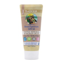 Badger Company, Tinted Mineral Sunscreen Cream, SPF 30, Unscented, 87ml