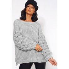 Grey Chunky Knit Oversized Jumper