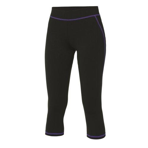 (Jet Black/Purple, XS) AWDis Cool Girlie Womens 3/4 Length Running Sports Gym Capri Pants Leggings