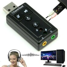 USB 7.1 Channels Stereo Sound Card External Virtual Audio Adapter Converter