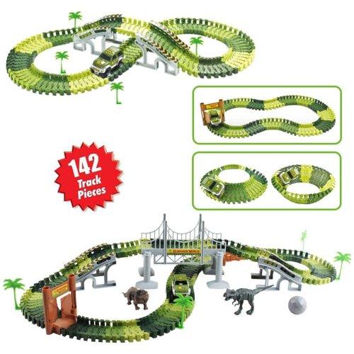 deAO Slot Car Race Track Sets Jurassic Dino World Flexible Race Track, Wooden Bridge, Ball & Car with Light Play Set