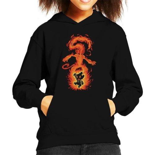 (Large (9-11 yrs)) The Fire Ape Within Infernape Chimchar Pokemon Kid's Hooded Sweatshirt
