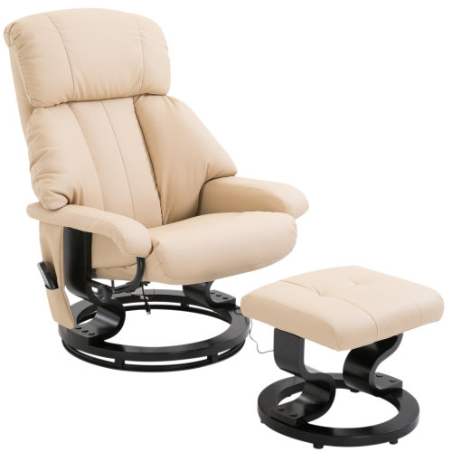 Homcom Faux Leather Heated Massage Chair & Footstool Cream