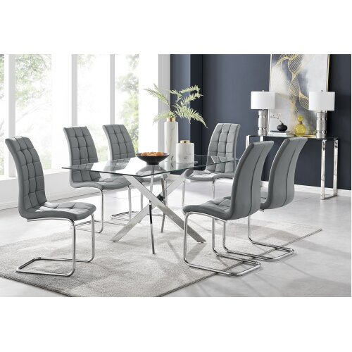 Leonardo Glass And Chrome Metal Dining Table And 6 Murano Chairs