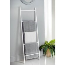 Crisp White Painted Finish Maine Ladder Towel Rack Perfect For Larger Bathrooms That Require Some Storage Space