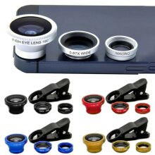 Universal 3 In 1 Clip On Fish Eye Macro Wide Angle Mobile-phone Lens Camera Kits
