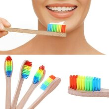Eco Friendly Bamboo Toothbrush Rainbow Dental Care Oral Brush (2 items)