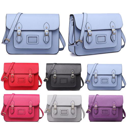 Miss Lulu PU Leather Buckle Satchel Bag