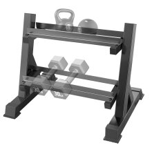 OUNUO Adjustable 2 Tier Dumbbell Rack, Hand Weights Plates kettlebells Weight Sets Stand, Dumbbell Holder for Home Gym (Rack Only)