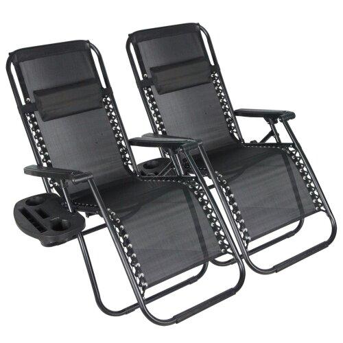 (Black) BIRCHTREE Folding Garden Patio Chair Sun Lounger Recliner Zero Gravity Set of 2