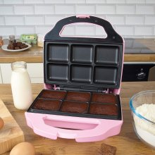 Global Gizmos Fun 6 Brownie Maker with Cool Touch Handle Pink Kitchen Family Children Adults