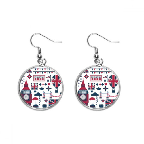 Tower Ballon Soldier UK Big Ben England Ear Dangle Silver Drop Earring Jewelry Woman