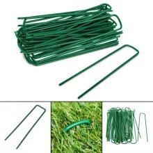 50 Green Artificial Grass Turf U Pins Metal Galvanised Pegs Staples Weed