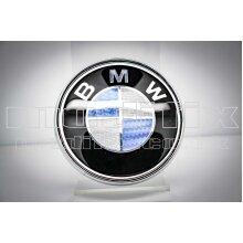 modifix_co_uk BMW CARBON Blue & White Front / Rear Badge Emblem Genuine Modified