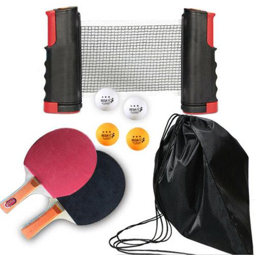 (Red & Black) Table Tennis Ping Pong Kit Set Portable Retractable Net Bats Ping Pong Balls