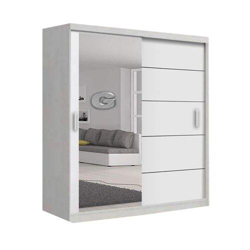(White , 180cm) Lyon Modern Bedroom Sliding Door Wardrobe 2 LED's