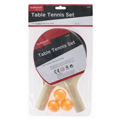 Table Tennis Bats And Balls Set - 2 Bats 3 Balls Ready To Play Any Table