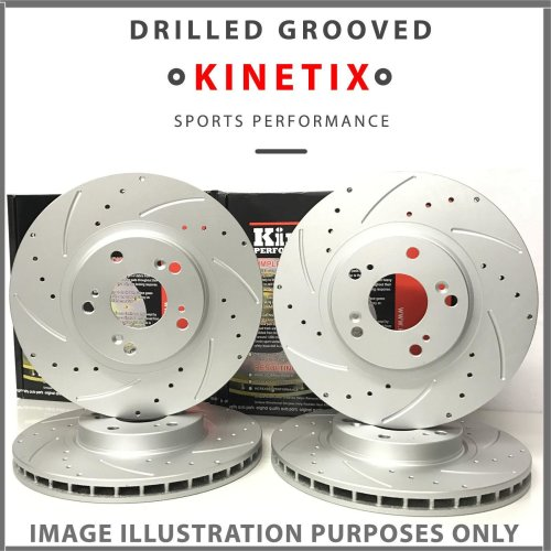 Kinetix Front Rear Drilled and Grooved Performance Brake Discs TX013 TX014