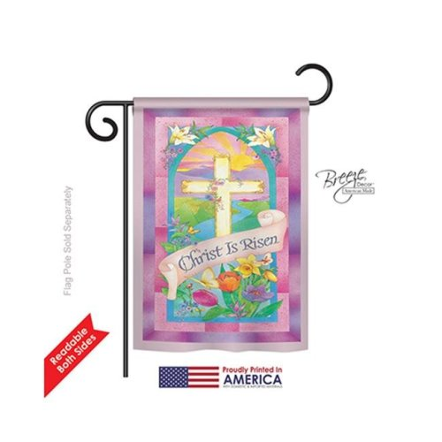 Breeze Decor 53043 Easter Christ is Risen 2-Sided Impression Garden Flag - 13 x 18.5 in.