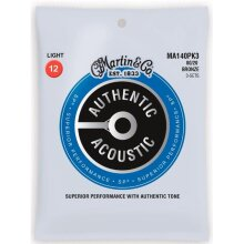 Martin Strings MA140PK3-U Authentic 80-20 Bronze Light - Pack of 3