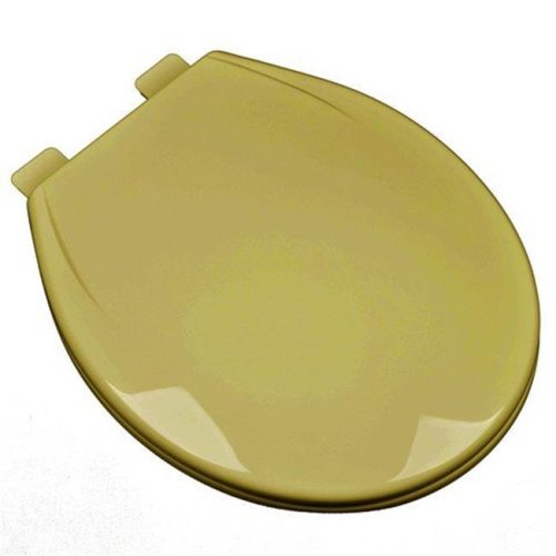 Slow Close Plastic Round Front Contemporary Design Toilet Seat, Harvest Gold