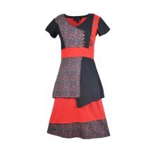 Ladies short sleeve dress with patches and prints