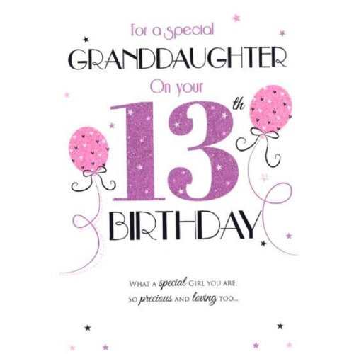 Special Granddaughter 13th Birthday Card (ICG-7270) - Pink Balloons - Foil and Flitter Finish