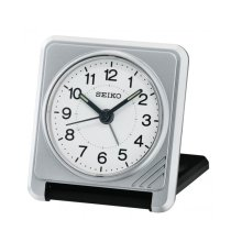 Seiko QHT015S Portable Travel Snooze Beep Alarm Clock - Silver