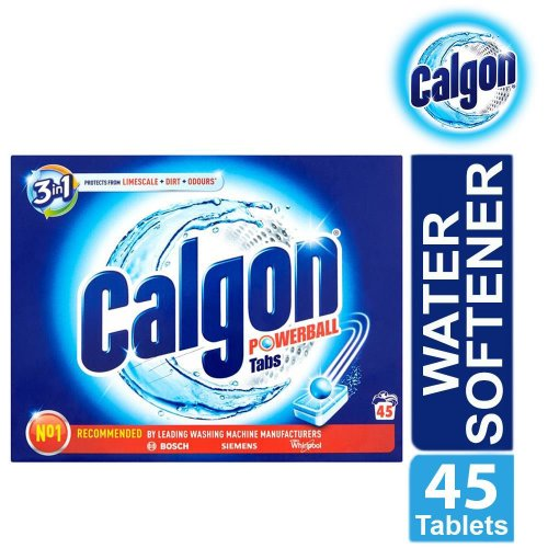 Calgon 3 in 1 Powerball Tabs Water Softener 45 Tablets Limescale Protection