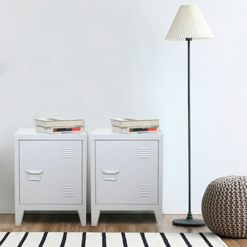 1 Pair Vintage Industrial Bedside Tables Retro Locker Side Cabinets White