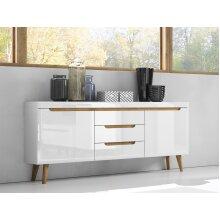 White Gloss Sideboard 160 cm wide Drawers / Oak Legs / NORDI LINE