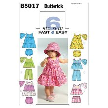 Butterick Patterns B5017 Infants Top/Dress/ Panties/Shorts/ Pants and Hat, Pack of 1, White