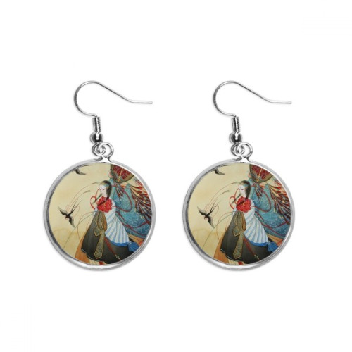 Swallows Chinese Antique Illustrator Ear Dangle Silver Drop Earring Jewelry Woman