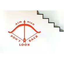 Aim High And Dont Look Back Wall Stickers Art Decals - Medium (Height 45cm x Width 57cm) Orange