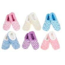 Snoozies Rose & Stripe Design Sherpa Fleece Socks