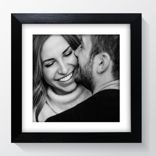 """8x8"""" For 6x6"""" Picture - Oxford Black Square Photo Frame With Soft Cream Mount - Glass Window"""
