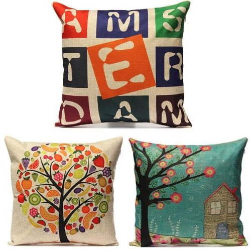 Vintage Letter Fruit Tree HouseCotton Linen Pillow Case Home Decor Sofa Car Cushion Cover