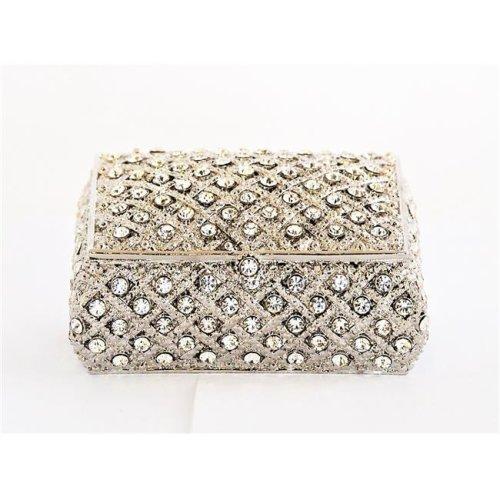 Ciel Collectables 1012079A Katarina Jewelry Silver Plating Trinket Box - Swarovski Crystals & Enamel