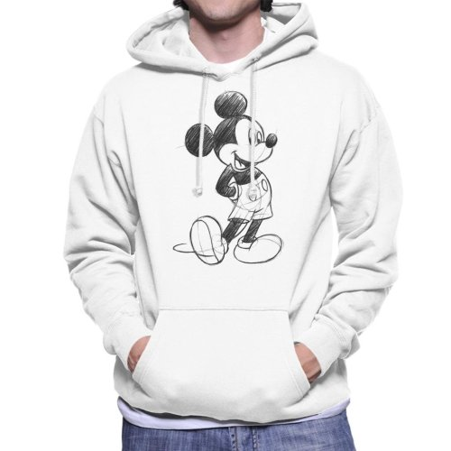 (Medium, White) Disney Mickey Mouse Sketch Drawing Men's Hooded Sweatshirt