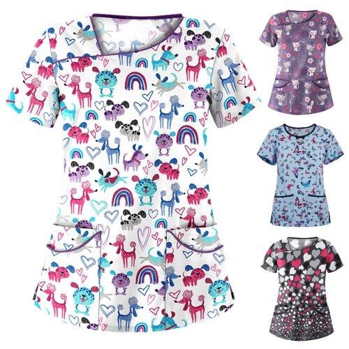 Women Cute Cartoon Print Nursing Scrubs Tops T Shirt