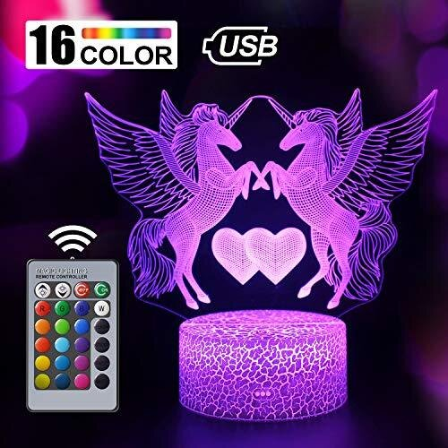 Unicorn Gift Unicorn Night Light for Kids and Lover, 3D Light lamp 16 Colors Change with Remote, Valentine's Day Present and Birthday Gifts for Chil